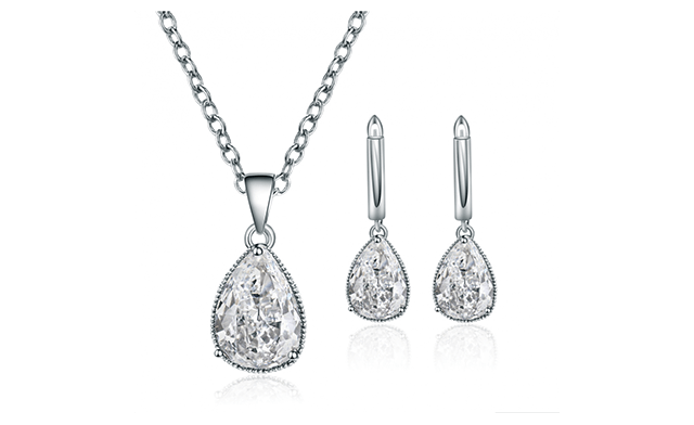 $21 for a Pear Cut Cubic Zirconia Crystal Set (a $119 Value)