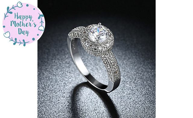 $14.99 for a 1.90 CTTW Crystal White Gold Plated Engagement Ring (a $250 Value)
