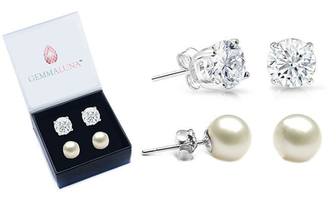 $14.77 for 2 Pairs of Freshwater Pearl and White Topaz Stud Earrings (a $131.99 Value)