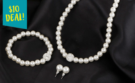 $10 for a Pearl Necklace Set (a $73.45 Value)