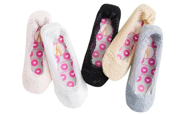 $21.95 for a 5 Pairs of Women's Invisible Cotton Lace Socks (a $39 Value)
