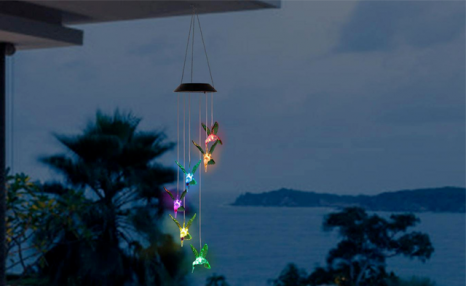 $22.95 for a Hummingbird Colour-Changing LED Solar Wind Chime (a $47.99 Value)