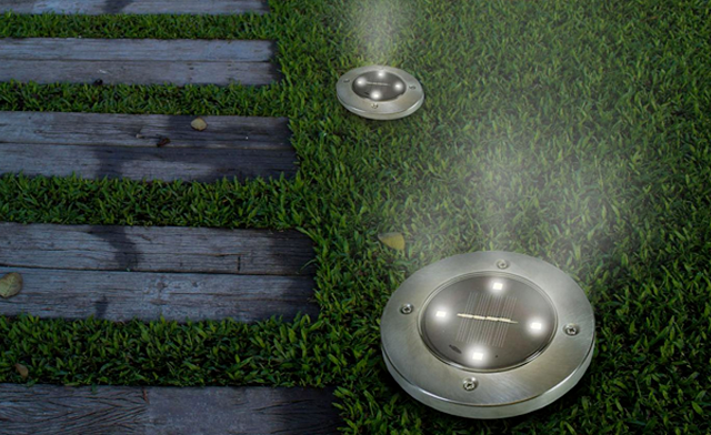 $29.95 for Pack of 4 Solar SunSpots Outdoor LED Disk Lights (a $73.99 Value)