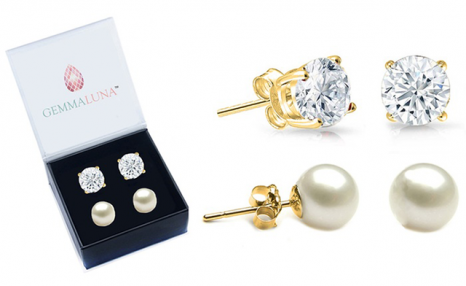 $17 for 2 Pairs of Freshwater Pearl and White Topaz Stud Earrings (a $131.99 Value)