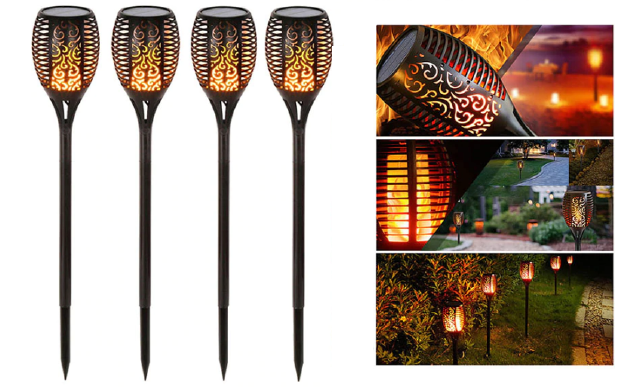 Up to 61% off Solar Flame Flickering Lamp Torch - 1, 2, or 4 Pack