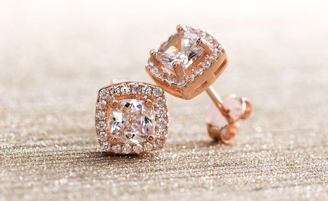 $15.95 for a Pair of Lesa Michele Rose Gold Studs with Swarovski Elements (a $107.99 Value)