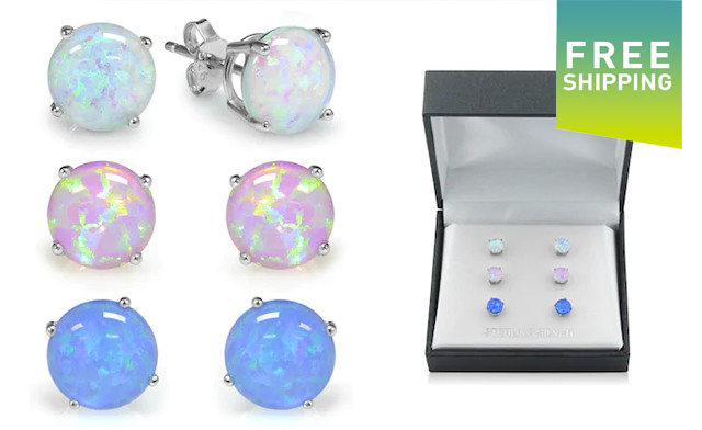 $22.95 for an Opal Earring Set (3-Pairs) (a $155 Value)