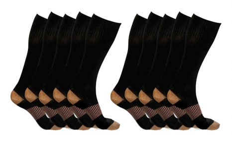 $29 for XFit Copper-Infused Compression Socks (5-Pack) - Shipping Included (a $138 Value)