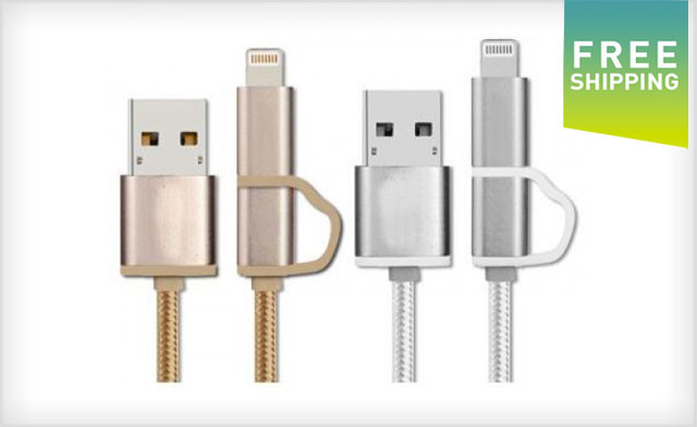 $7 for a 2-in-1 Lightning Nylon Micro USB Cable for Apple & Android (a $23 Value) - Shipping Included