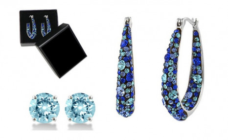 $24.95 for Blue Inside Out Hoops in 18K White Gold-Plating Made with Blue Swarovski Crystal by Mina Bloom (a $96.99 Value)