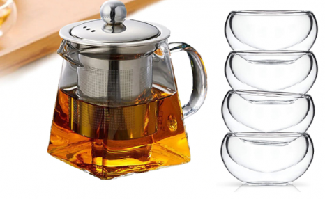 $45 for a Glass Tea Kettle & Pack of 6 Elegant Glass Tea Cups (a $62.41 Value)