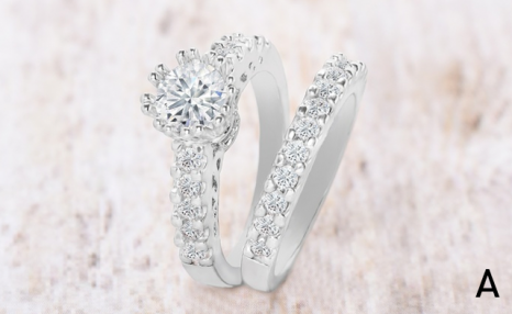 $23.95 for a 2 Piece Set of 18K White Gold Plated Crystal Rings (a $124.99 Value)