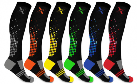 $29.95 for a Pack of 6 XTF Unisex Pixel Knee-High Compression Socks (a $85.99 Value)