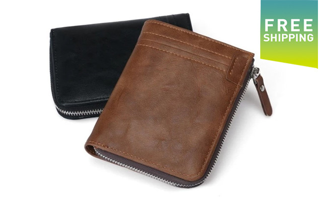 $19 for a RFID Protection PU Leather Wallet for Men with Zipper (a $45 Value)