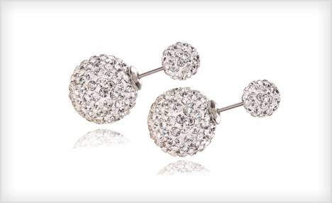 Click to view $15 for Double Crystal Ball Sterling Silver Stud Earrings (a $73 Value)
