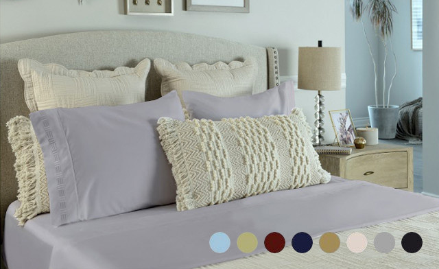 Click to view $19 for a 4 Piece 1500 Thread Count Bed Sheet Set with Embroidery in Twin, Double, Queen or King Sizes (a $139 Value)