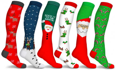 $25 for 6 Pairs of Holiday Fun Knee High Compression Socks (a $79.95 Value)