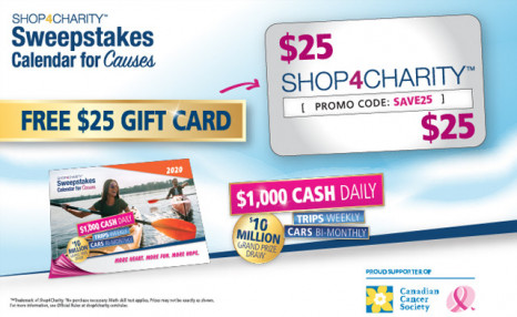 Click to view For a Limited Time: Apply This $25 Gift Card to Your 2020 Calendar for Causes Sweepstakes Purchase AND Receive 4X entries!