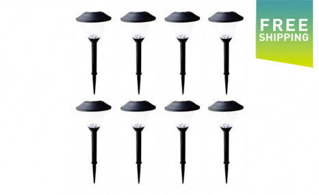 $15.95 for a Set of 8 Patriot Lighting Cranford Solar Garden Lights - Shipping Included (a $35.95 Value)