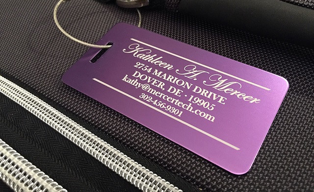 $5.99 for a Personalized Aluminum Luggage Tag (a $23.83 Value)