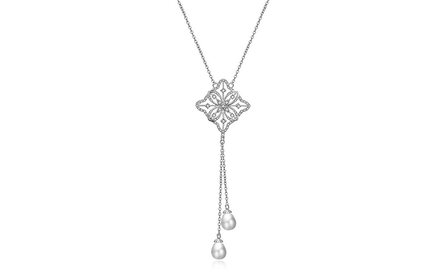 $23 for a Clover Diamond Necklace with Pearl Drops - Shipping Included (a $139 Value)