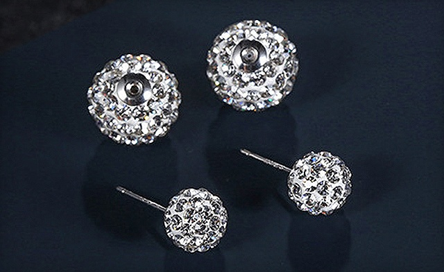 $15 for Double Crystal Ball Sterling Silver Stud Earrings - Shipping Included (a $73 Value)