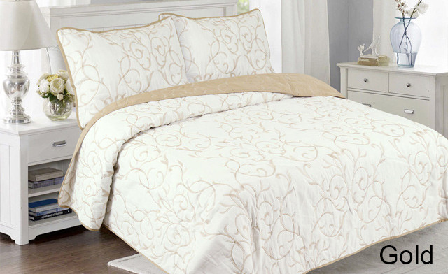 Up to 73% off a Reversible Embroidered Quilt Set