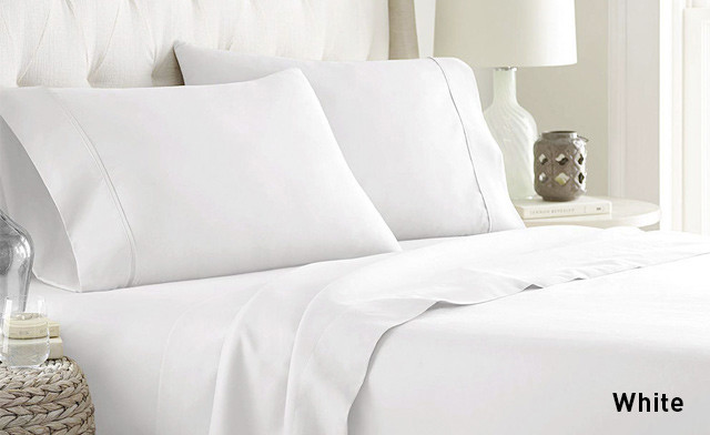 Up to 79% Off a 4-Piece 600 Thread Count Cotton Blend Sheet Set