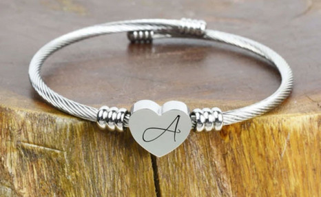 $12.99 for the Heart Cable Initial Bracelet (a $40.16 Value)