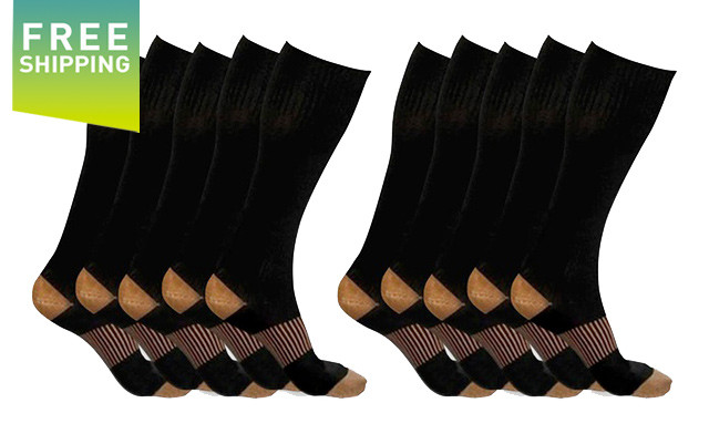 Click to view $37.99 for XFit Copper-Infused Compression Socks (5-Pack) - Shipping Included (a $138 Value)