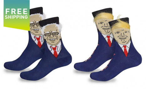 Click to view $21 for a Pair of Donald Trump or Bernie Sanders Novelty Socks - Shipping Included (a $29 Value)