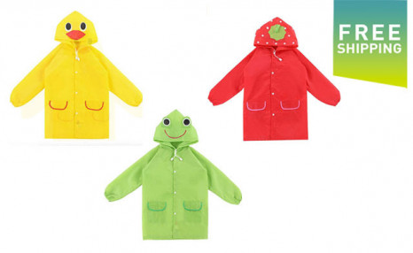 Click to view $19 for a Cartoon Animal/Fruit Waterproof Kids Raincoat (a $45 Value)