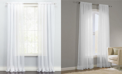$12.95 for a Pair of White Shawna Sheer Voile Curtains (a $49 Value)