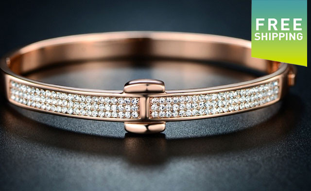 $25.95 for an 18K Rose Gold Plated Hinge Bangle (an $89.95 Value)