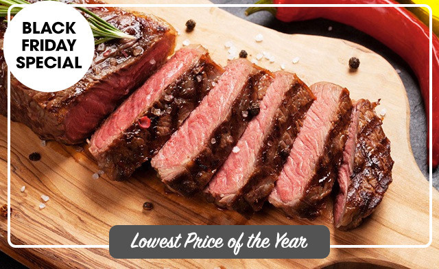 PRICE DROP! $79 for 10 x 12 oz New York Hand-Cut AA/AAA Striploin Steaks (a $180 Value)
