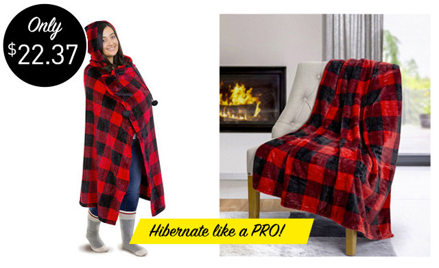 $22.37 for a Plush Hooded Blanket (a $52.99 Value)