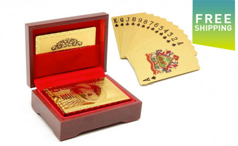 Click to view $23.95 for Waterproof Gold Playing Cards with Carrying Box (a $64.99 Value)