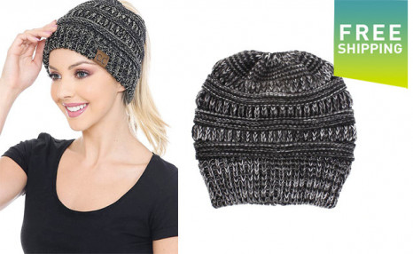 $18.95 for a 2-Pack of Knitted Ponytail Beanies (a $38 Value)