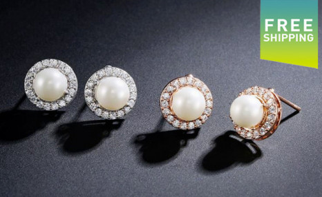 $17.95 for a Pair of Halo Pearl Earrings (an $89 Value)