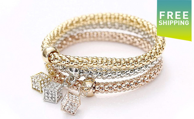 $20 for a 3-Pack of Crystal Box Charm Bracelets (a $65 Value)