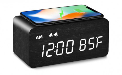 $29.95 for a Digital Wooden Alarm Clock with Wireless Charging (a $55 Value)