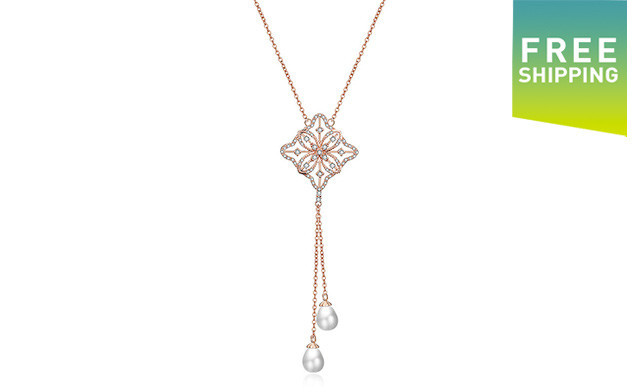 $21 for a Clover Diamond Necklace with Pearl Drops (a $139 Value)