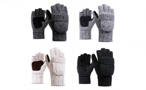 $22.95 for a Pair of Fleece Knitted Fingerless Mittens (a $53.99 Value)