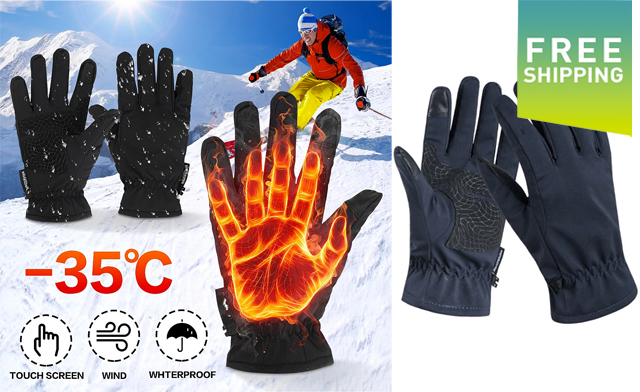 $22 for Waterproof Fleece Thermal Gloves (a $55 Value)