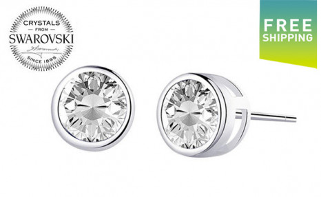 $12 for a Pair of Swarovski White Gold Round Earrings (a $49 Value)