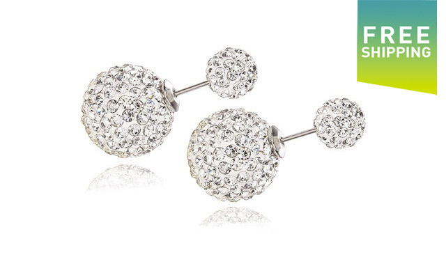 $16 for Double Crystal Ball Sterling Silver Stud Earrings (a $73 Value)