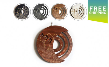 $34.95 for a Wooden Moon-Shaped Calendar (a $79 Value)
