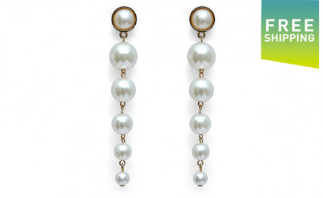 Click to view $12 for a Pair of Round Pearl Ball Style Earrings (a $59 Value)