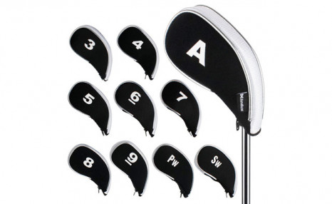 Click to view $25.95 for a 10Pc Set of Golf Iron Head Covers (a $54.99 Value)