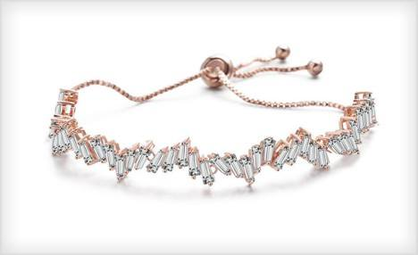 $21 for an Adjustable White Sapphire Baguette Bracelet - Shipping Included (a $149 Value)